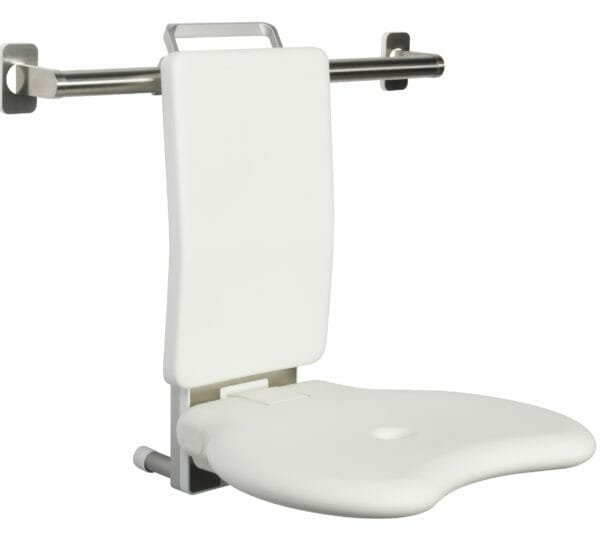 Duschsitz mit Ruecken - Lehne zum Einhängen in Edelstahl-Dusch-Handlauf