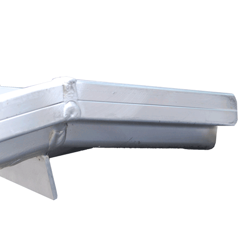 Rollstuhlrampe mobil klappbar 2-teilig Detail Auflage oben mit Winkel