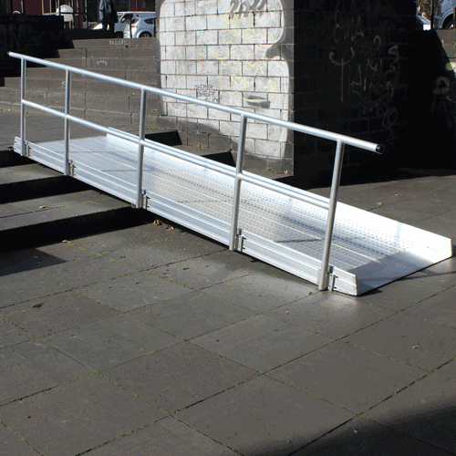 Geländer einseitig für Rollstuhlrampe fest linke Seite