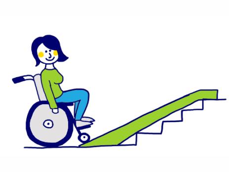 Zeichnung einer Rollstuhlfahrerin am unteren Ende einer Treppe mit einer Rampe