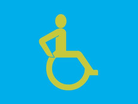 Barrierefreiheit: Skizze eines Rollstuhlfahrers
