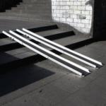 Rollstuhlrampe / Teleskoprampe Breit 3 Teilig Auf Treppe