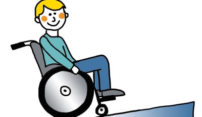 Rollstuhlfahrer auf einer Rampe