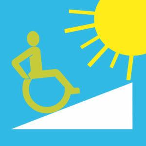 Symbole: Rollstuhlfahrer, Rampe und Sonne