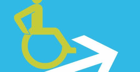 Symbol für Steigung: Rollstuhlfahrer auf Pfeil