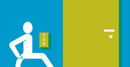 Skizze: Rollstuhlfahrer vor einer Tür mit Türantrieb