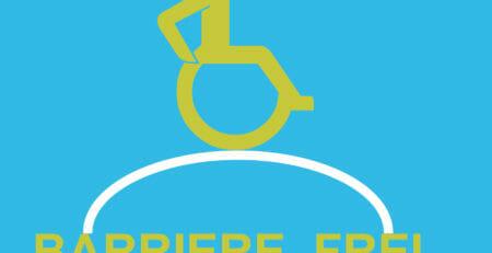 Grafik: Rollstuhlfahrer fährt über einen Bogen, der die Worte Barriere und Frei verbindet.