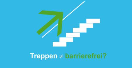 Grafik: Ein Pfeil zeigt auf einem Geländer liegend, eine Treppe hinauf. Darunter steht die Frage: Treppen ungleich barrierefrei?