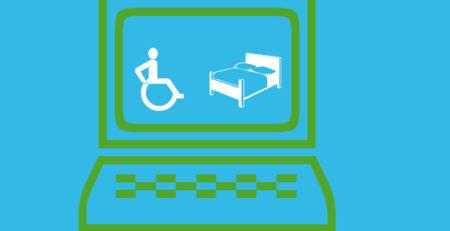 Grafik: Rollstuhlfahrer und ein Bett in einem PC-Bildschirm.