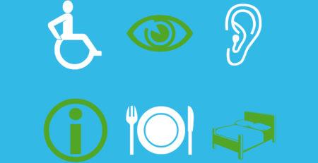 Graphische Darstellung: Rollstuhl, Auge, Ohr, Infromations-i, Geschirr und Bett
