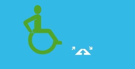 Rollstuhlfahrer neben einem Symbol für eine Türschwellenrampe.