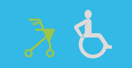 Grafik: Links Rollator, rechts Rollstuhl