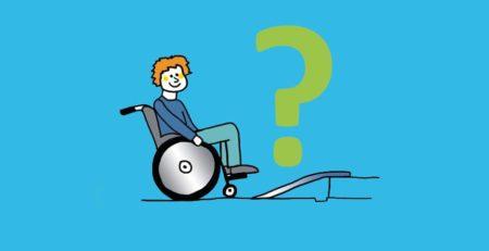 Grafik: Person vor Rollstuhlrampe mit Fragezeichen.