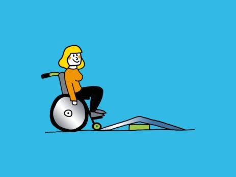 Grafik: Person im Rollstuhl überwindet Schwelle mit Rampe.
