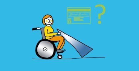 Grafik: Rollstuhlfahrer mit Rezept und Fragezeichen.