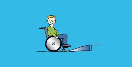 Grafik: Rollstuhlfahrer vor Stufenrampe