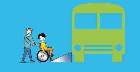 Grafik: Rollstuhlfahrer mit Hilfsperson fährt über Rampe in Fahrzeug