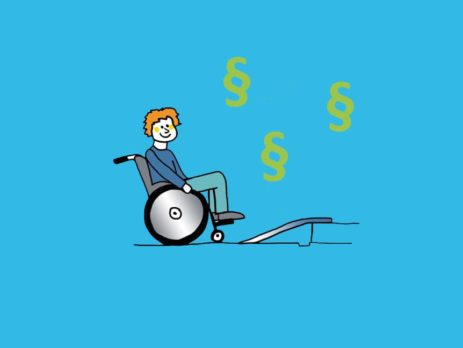 Grafik: Rollstuhlfahrer vor Rampe über der Paragraphenzeichen schweben