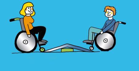Grafik: Zwei Rollstuhlfahrer stehen sich vor einem Podest gegenüber.
