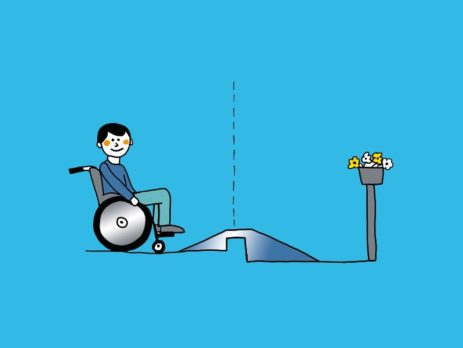 Grafik: Rollstuhlfahrer vor höhenverstellbarer Rampe