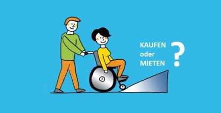 Helfer, Rollstuhlfahrer, Rollstuhlrampe, Schriftzug mieten oder kaufen