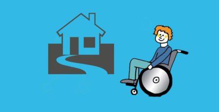 Grafik: Rollstuhlfahrer vor Haus