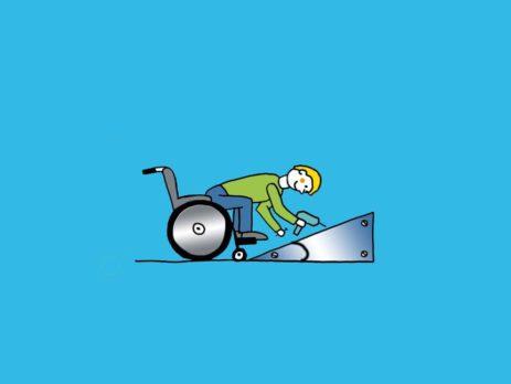 Grafik: Rollstuhlfahrer vor Rampe mit eingezeichnetem Winkel