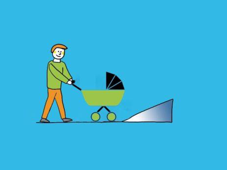 Grafik: Person mit Kinderwagen vor Rollstuhlrampe