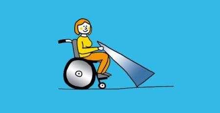 Grafik: Rollstuhlfahrer mit mobiler Rampe in der Hand