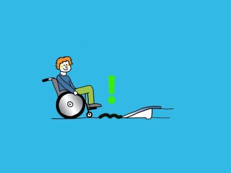 Grafik: Rollstuhlfahrer vor Rampe mit unebenem Untergrund