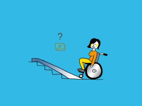 Grafik: Rollstuhlfahrer vor Rampe mit Geldzeichen darüber