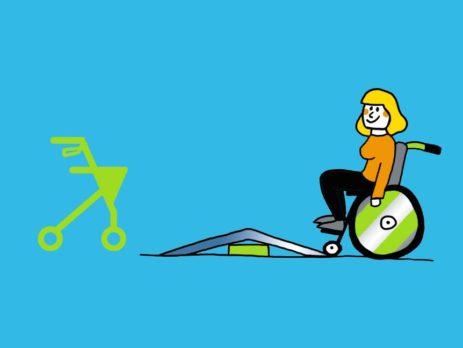 Grafik: Rollator links und Rollstuhl rechts vor Schwelle in der Mitte