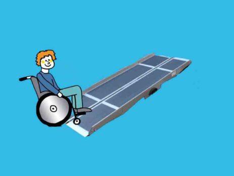 Flächenrampe 2-teiligt mit Rollstuhlfahrer