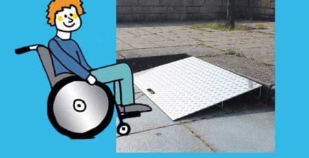 Rollstuhlfahrer vor Keilbrücke variabel