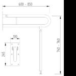 Boden Wand Stützklappgriff Edelstahl Zeichnung